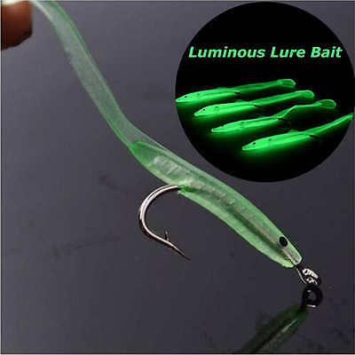 20pcs Soft Gummi Eel lures Hooks Bass Cod Sea Boat Wreck Fishing Green Luminous
