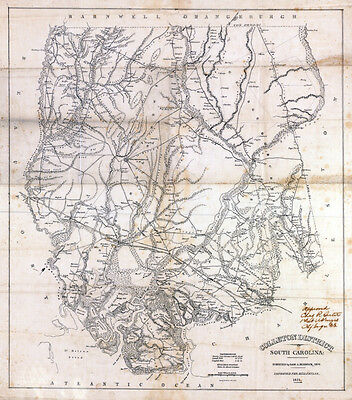 1825 Map of Colleton District (County) South Carolina