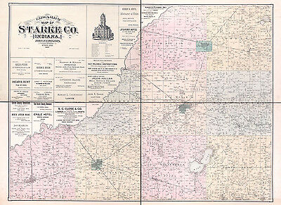 1898 Farm Line Map of Starke County Indiana Hamlet Knox North Judson