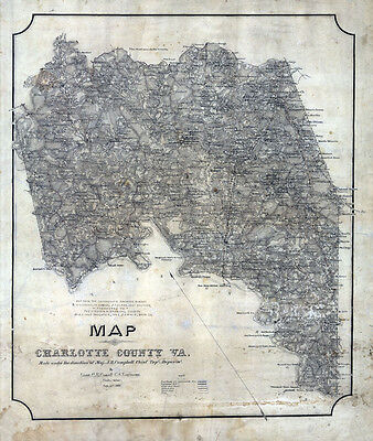 1864 Map of Charlotte County Virginia LARGE 34 x 40