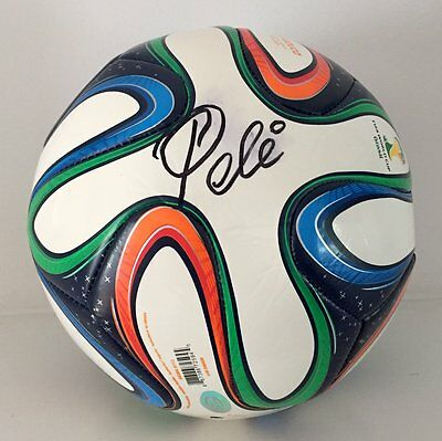 Pele Autographed World Cup Brazil Soccer Ball USA SM Auth