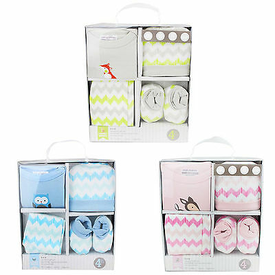 New Baby Gift Set Box Newborn Unisex Boy Girl 4 Piece 100% Cotton 0-6 Months