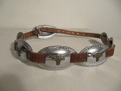 Vintage Ladies Woman Texas Long Horn Steer Concho Style Leather Belt