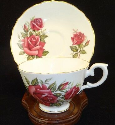 CROWN STAFFORDSHIRE ENGLAND Bone China Tea Cup & Saucer Red /Pink Rose