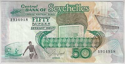 Seychelles 50 Rupees Banknote, 1989, Very Fine Condition