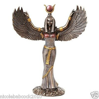"11.8"" Egyptian Winged Ancient Egypt sculpture Statue regal mother Goddess"