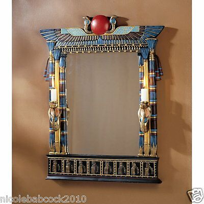 "25"" Anceint Egyptian Architecture Wadget Cobras Sculptural Wall Mirror Decor"