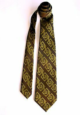 Dramatic Vintage 1970's Tie ~ Extra-wide ~ Glowing Gold Geometrics on Taupe