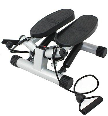 Sunny Health&Fitness Twisting Stair Stepper with Band, Silver