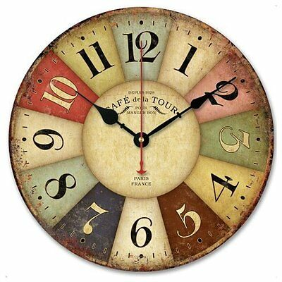 Vintage Wooden Wall Clock Colorful French Country Retro Style Silent 12-in Decor