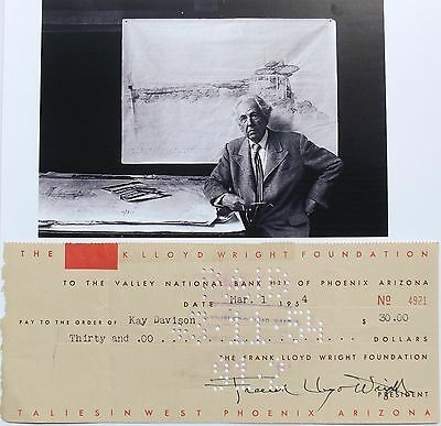 Frank Lloyd Wright Prominent American Architect Signed Check Authentic ''Rare''
