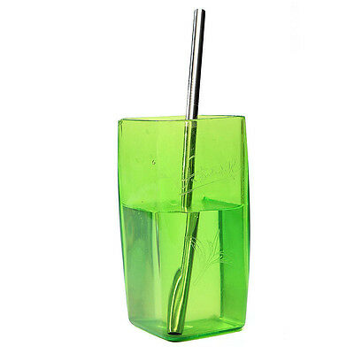 New Reusable Metal Stainless Steel Cocktail Juice Drinking Straw Straight Tube