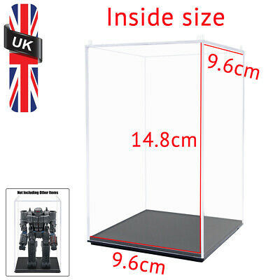 UK Clear Acrylic Display Box 15cm Perspex Case Plastic Base Dustproof Collection