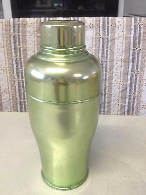 Old Vintage Retro Green Anodised Cocktail Bar Drink Mixer Shaker Italian Flask