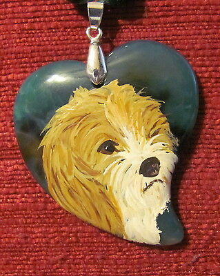 Petit Basset Griffon Vendeen hand painted on Onyx Agate pendant/bead/necklace