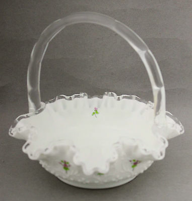 Fenton White Glass Basket Spanish Lace Violets in the Snow Sandy Hammer