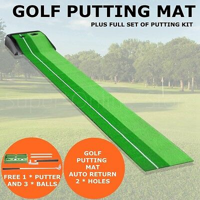 Grass Turf Auto Ball Return System Golf Putting Practice Mat track training aid