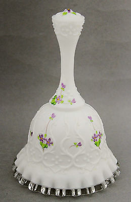 Fenton White Glass Bell Spanish Lace Violets in the Snow C. Mackey Vintage 70s