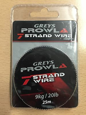 SALE Greys Prowla 7 Strand Wire Pike Fishing Trace 20lb 25m Hook Link Leader