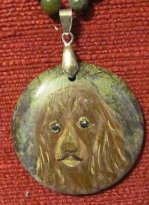 Sussex Spaniel hand painted on round Jasper pendant/bead/necklace