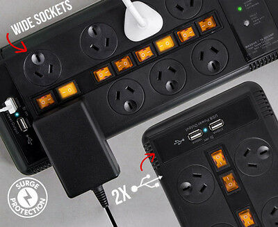 8-Outlet Connexia Surge Protector Powerboard - Protected with 2 USB Ports
