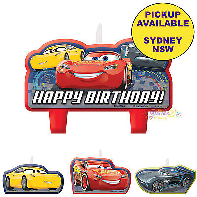 Disney Cars Formula Racer Birthday Party Supplies 4 Mini Candles Set Toppers