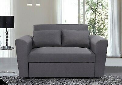 Ravena 2 Seat Click Clack Pull Out Sofa Bed Living Room Lounge Charcoal Fabric