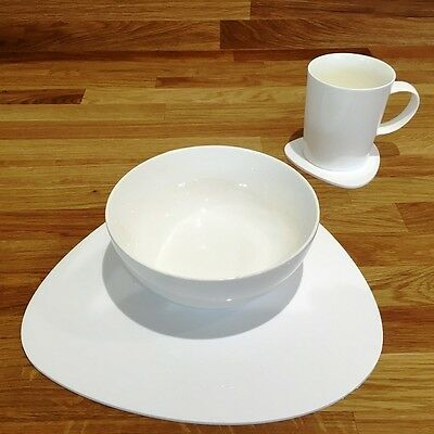 White Pebble Shaped Placemat and Coaster Set