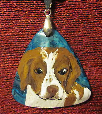 Brittany hand painted on blue triangular Agate pendant/bead/necklace