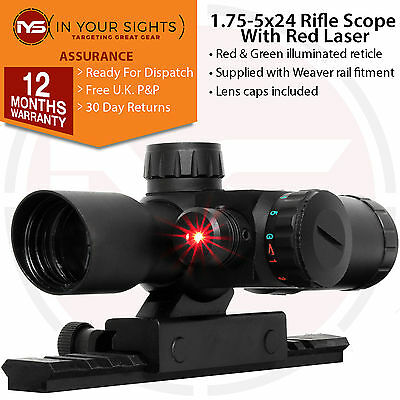 Tactical Riflescope.1.75-5x24 Red/Green Illuminated Reticle scope + Red Laser