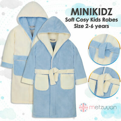 MINIKIDZ Childrens Kids Infant Boys Fleece Dressing Gown Robes Super Soft Cosy