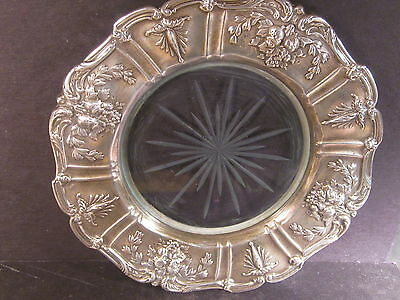 Sterling Reed & Barton Francis I Silver & Glass LEMON PLATE OR WINE COASTER X567