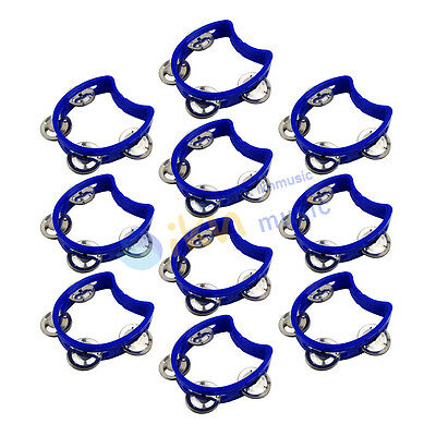Blue Color 10pcs Small Kids Tmabourine with 4 Jingles-Hand Held Half Blossom