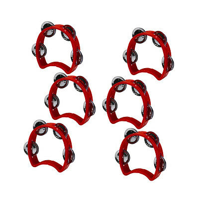 Red 6pcs Purcussion Plastic Cutaway Tambourine Half Blossom with 4 Jingles