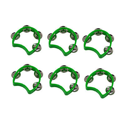Green 6pcs Kids Purcussion Cutaway Tambourine Half Blossom with 4 Jingles