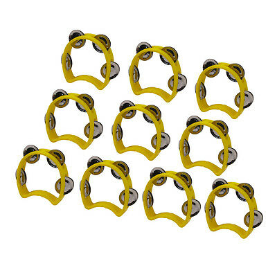 10pcs Small Kids Tmabourine Yellow Plastic with 4 Jingles-Hand Held Half Blossom