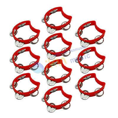 10pcs Small Tmabourine Red Plastic with 4 Jingles Hand Held Half Blossom