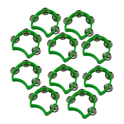 Green 10pcs Small Kids Tmabourine with 4 Jingles-Hand Held Half Blossom