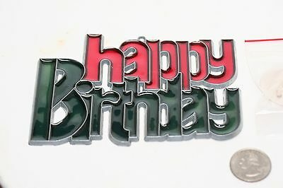 STAINED GLASS HAPPY BIRTHDAY WINDOW HANGING 3 1/2 x 5 inches with hanger