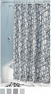 InterDesign Abstract Fabric Shower Curtain 72 X 84 Black White Long