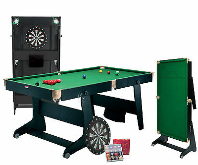 Riley 6 ft Folding Snooker Table FS-6 with Dartboard