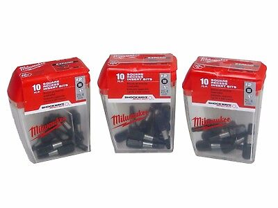 NEW Milwaukee 48-32-4607 Square Recess Insert Bits #2 (3 Pack)