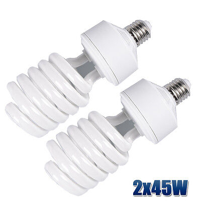 2x 45W 5500K Photo Studio Bulb Compact Fluorescent Day Light Balanced Lamp