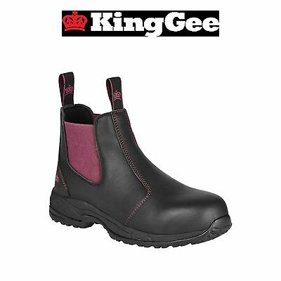 Womens KingGee Tradie Pull Up Work Boots Full Leather Safety Toe Black K27390