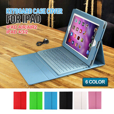 Cover Stand Leather Wireless Apple iPad 2 3 4 AIR 1 2 Bluetooth Keyboard Case
