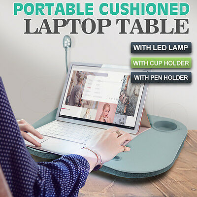 Portable Cushioned Laptop Lap Desk Table with LED Lamp Light Cup Holder New