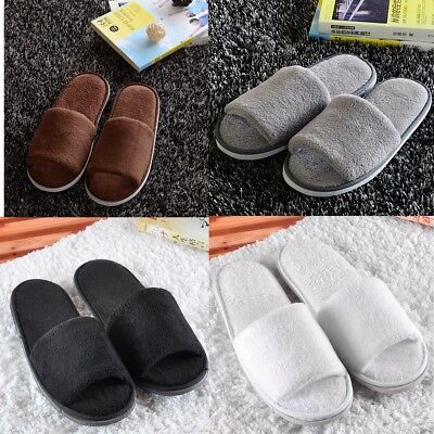 Women Men Plush Coral Open Toe Spa Hotel Home Beauty Salons Cotton Slippers