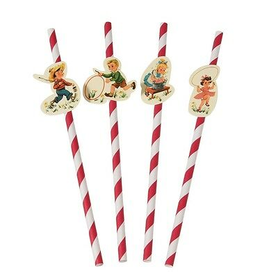 dotcomgiftshop PACK OF 4 VINTAGE KIDS PARTY STRAWS