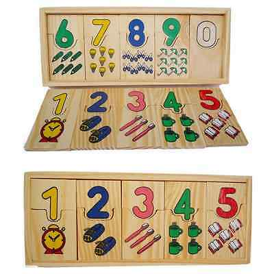 1 Set Baby Wooden Digital Matching Funny Blocks Educational Math Toys Kids Gifts