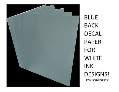 BLUE BACK Water Slide Decal Paper A4 - INKJET - LASER - 5 Pack Sizes